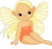 Little  sunny fairy. Illustration of Little sunny fairy sitting Royalty Free Stock Photo