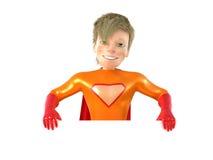 Little superhero posing. 3d man - brave superhero. Isolated on white vector illustration