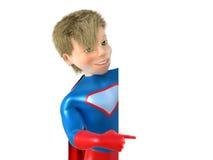 Little superhero posing. 3d man - brave superhero. on white royalty free illustration