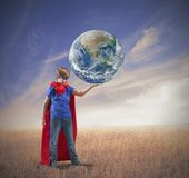 Little superhero save the world Royalty Free Stock Photos