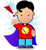 Little superman. Hero wearing a cape and smiling ready to take off Stock Photo