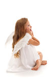 Little surprised angel girl - isolated Royalty Free Stock Photo