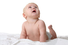 Little surprised baby looking up Royalty Free Stock Photos