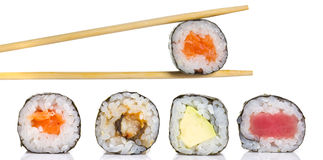 Little sushi maki roll isolated Royalty Free Stock Photos
