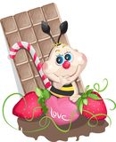 A little sweet bee. A little bee with sweets, chocolate and heart royalty free illustration