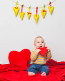 Little sweet boy with heart Stock Images