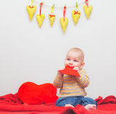 Little sweet boy with heart Royalty Free Stock Images