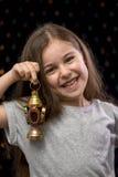 Little Sweet Girl with Ramadan Lantern Royalty Free Stock Photography