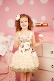 Little sweet girl with tea Stock Photo