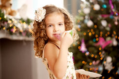 Little sweet girl with tea Royalty Free Stock Image