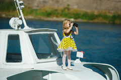 Little sweet girl on yacht Royalty Free Stock Photo