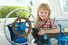Little sweet girl on yacht Royalty Free Stock Image