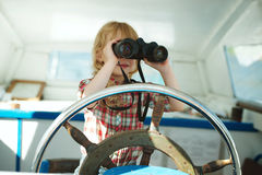 Little sweet girl on yacht Royalty Free Stock Images