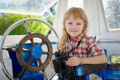 Little sweet girl on yacht Royalty Free Stock Photos