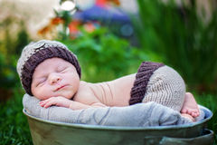 Little sweet newborn baby boy, sleeping in crate with knitted pa. Nts and hat in garden, outdoors in the park Stock Photography