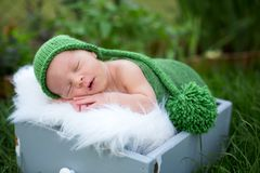 Little sweet newborn baby boy, sleeping in crate with wrap and h. At, outdoors in garden Stock Image