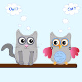 Little sweet owl and cat Royalty Free Stock Photos