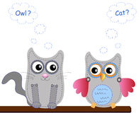 Little sweet owl and cat Stock Images