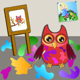Little sweet owl of paiting Stock Image