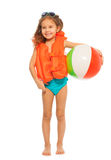 Little swimmer standing with colored wind-ball Royalty Free Stock Photo