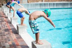 Free Little Swimmers Ready To Jump In Pool Royalty Free Stock Image - 89679506