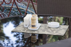 Little table in cafe Stock Images
