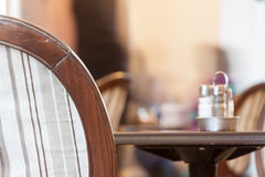 Little table in cafe. In clear summer day Stock Photo