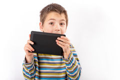 Little tablet user Royalty Free Stock Photo