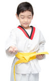 Little tae kwon do boy martial art yellow belt Stock Photos
