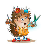 Little tailor hedgehog with a needle and a thread Royalty Free Stock Images
