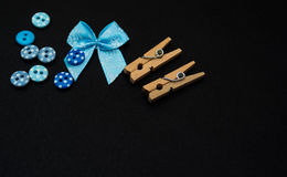 Little tailor items ribbon, buttons, clothespins Stock Photos