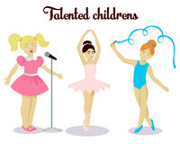 Little talented girls set Royalty Free Stock Photos