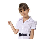 Little teacher. In white blouse standing and holding pointer. isolated on a white background Royalty Free Stock Image