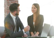 Two coworkers working on new business strategy Stock Images