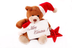 Little teddy bear with with christmas wishes Stock Photo