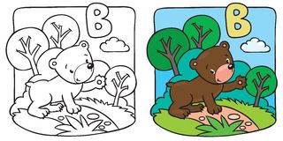 Little teddy bear coloring book. Alphabet B Royalty Free Stock Photos