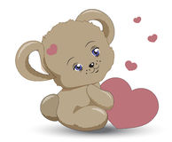 Little teddy bear with heart a Valentines. The little vector teddy bear girle holds heart in hand, a Valentines Day card Royalty Free Stock Photography