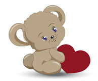 Little teddy bear with heart a Valentines. The little vector teddy bear holds heart in hand, a Valentines Day card Stock Photo