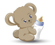 Little teddy bear with milk small bottle. The little  teddy bear holds milk small bottle Royalty Free Stock Photography
