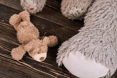 Little teddy bear on wood. Royalty Free Stock Image