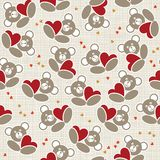 Little teddy bears holding hearts seamless pattern Stock Photos