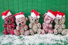 Little teddybears with Santa hats Stock Photo