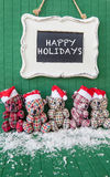 Little teddybears with Santa hats Stock Image