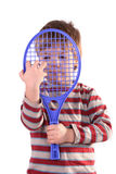 Little Tennis Player. On white stock photography