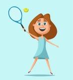 Little tennis player. Cartoon vector illustration. Little tennis player in uniform with the ball. Cartoon vector illustration. Kid character. Happy girl. Summer Stock Photos