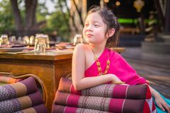 Little Thai Girl, Child, in Traditional Thai Costume. Child, Thai girl, in traditional Thai costume stock images