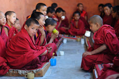 Little Tibetan monks 2. Young Tibetan monks during lessons in  Likir gompa (monastery). Near the Indian/Tibetan border in Ladakh, Northern-India Royalty Free Stock Images