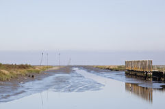 Little tidal harbor of Noordpolderzijl in Holland Royalty Free Stock Images