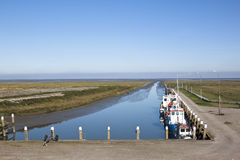 Little tidal harbor of Noordpolderzijl, Holland Stock Photos