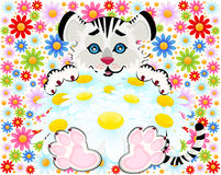 Little tiger with camomiles. Sign 2010 years is a beautiful little tiger with camomiles Royalty Free Stock Photo